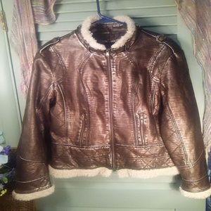 a.n.a. bomber/moto jacket w/faux fur trim sz XL